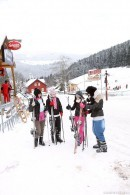 Nicoletta, Linda, Betty and Lilly skiing