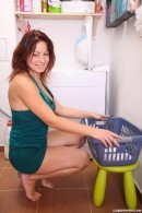 Busty Nanny filmed P.O.V. in laundry room